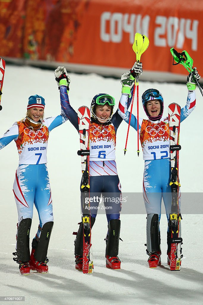 Mikaela Shiffrin of the USA wins the gold medal, Marlies Schild of Austria wins the silver medal, Kathrin Zettel of Austria wins the bronze medal during the Alpine Skiing Women's Slalom at the Sochi 2014 Winter Olympic Games at Rosa Khutor Alpine Centre on February 21, 2014 in Sochi, Russia.