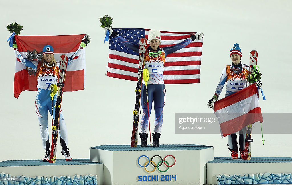 <a gi-track='captionPersonalityLinkClicked' href=/galleries/search?phrase=Mikaela+Shiffrin&family=editorial&specificpeople=7472698 ng-click='$event.stopPropagation()'>Mikaela Shiffrin</a> of the USA wins the gold medal, <a gi-track='captionPersonalityLinkClicked' href=/galleries/search?phrase=Marlies+Schild&family=editorial&specificpeople=209135 ng-click='$event.stopPropagation()'>Marlies Schild</a> of Austria wins the silver medal, <a gi-track='captionPersonalityLinkClicked' href=/galleries/search?phrase=Kathrin+Zettel&family=editorial&specificpeople=2113891 ng-click='$event.stopPropagation()'>Kathrin Zettel</a> of Austria wins the bronze medal during the Alpine Skiing Women's Slalom at the Sochi 2014 Winter Olympic Games at Rosa Khutor Alpine Centre on February 21, 2014 in Sochi, Russia.