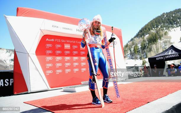 Mikaela Shiffrin of United States wins the globe for the overall season champion at the 2017 Audi FIS Ski World Cup Finals at Aspen Mountain on March...