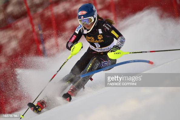 Mikaela Shiffrin of US competes during the Women Slalom race at the Alpine ski World Cup finals on March 16 2013 in Lenzerheide AFP PHOTO / FABRICE...