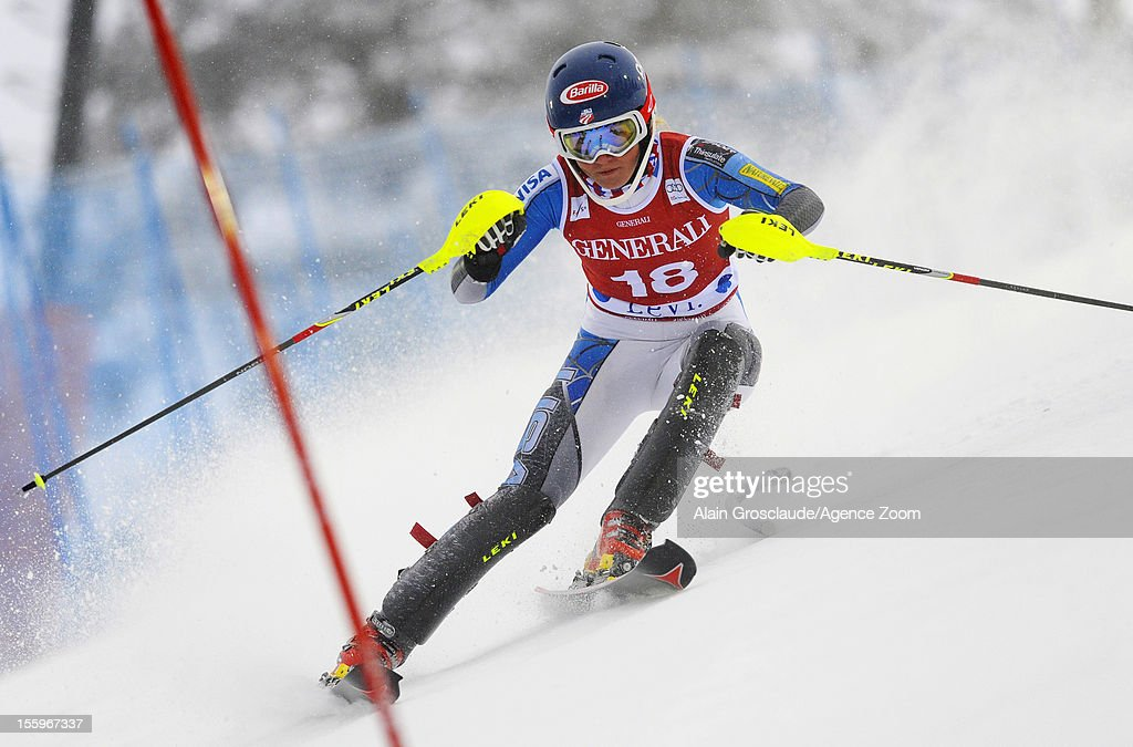 Mikaela Shiffrin of USA competes during the Audi FIS Alpine Ski World Cup Women's Slalom on November 10, 2012 in Levi, Finland.