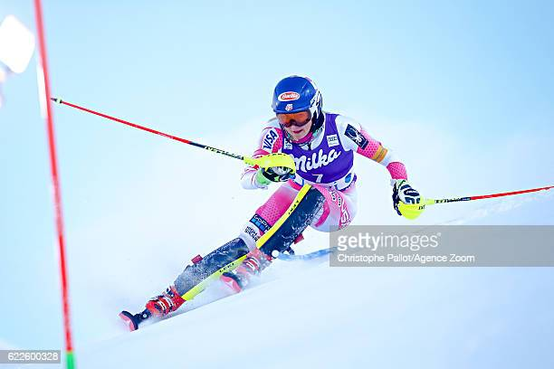 Mikaela Shiffrin of USA competes during the Audi FIS Alpine Ski World Cup Women's Slalom on November 12 2016 in Levi Finland