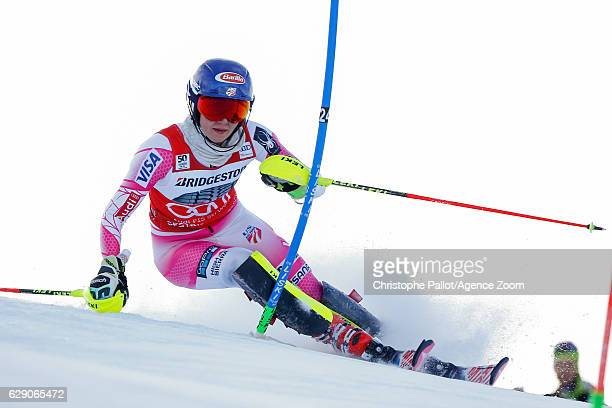 Mikaela Shiffrin of USA competes during the Audi FIS Alpine Ski World Cup Women's Slalom on December 11 2016 in Sestriere Italy