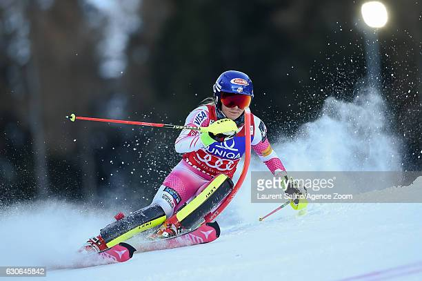 Mikaela Shiffrin of USA competes during the Audi FIS Alpine Ski World Cup Women's Slalom on December 29 2016 in Semmering Austria