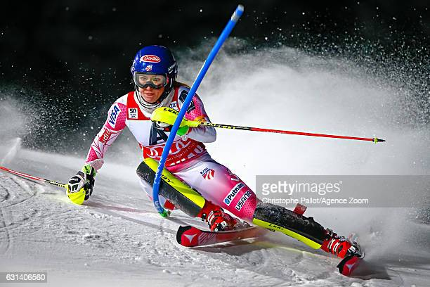 Mikaela Shiffrin of USA competes during the Audi FIS Alpine Ski World Cup Women's Slalom on January 10 2017 in Flachau Austria