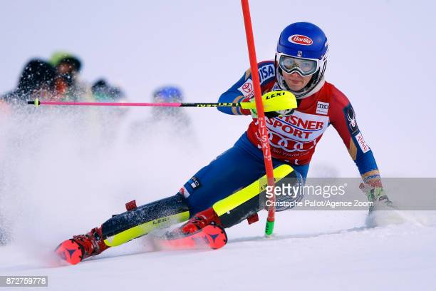 Mikaela Shiffrin of USA competes during the Audi FIS Alpine Ski World Cup Women's Slalom on November 11 2017 in Levi Finland