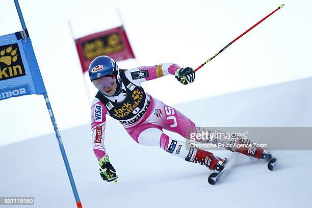Mikaela Shiffrin of USA in action during the Audi FIS Alpine Ski World Cup Women's Giant Slalom on January 07 2017 in Maribor Slovenia