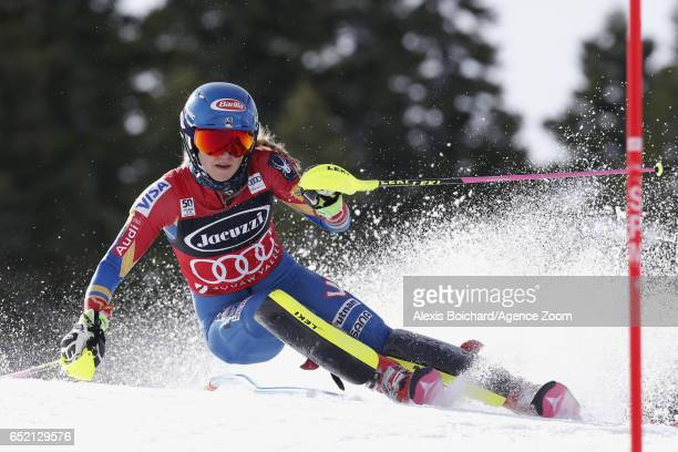 Mikaela Shiffrin of USA in action during the Audi FIS Alpine Ski World Cup Women's Slalom on March 11 2017 in Squaw Valley California