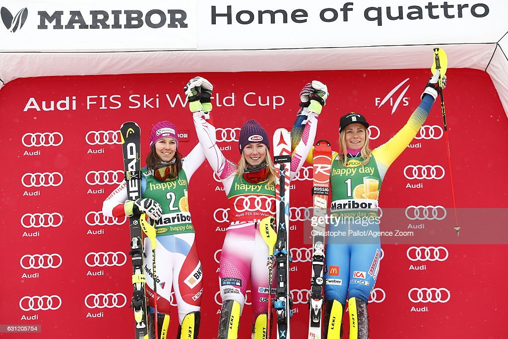 Mikaela Shiffrin of USA takes 1st place, Wendy Holdener of Switzerland takes 2nd place, Frida Hansdotter of Sweden takes 3rd place during the Audi FIS Alpine Ski World Cup Women's Slalom on January 08, 2017 in Maribor, Slovenia
