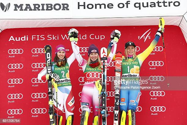 Mikaela Shiffrin of USA takes 1st place Wendy Holdener of Switzerland takes 2nd place Frida Hansdotter of Sweden takes 3rd place during the Audi FIS...