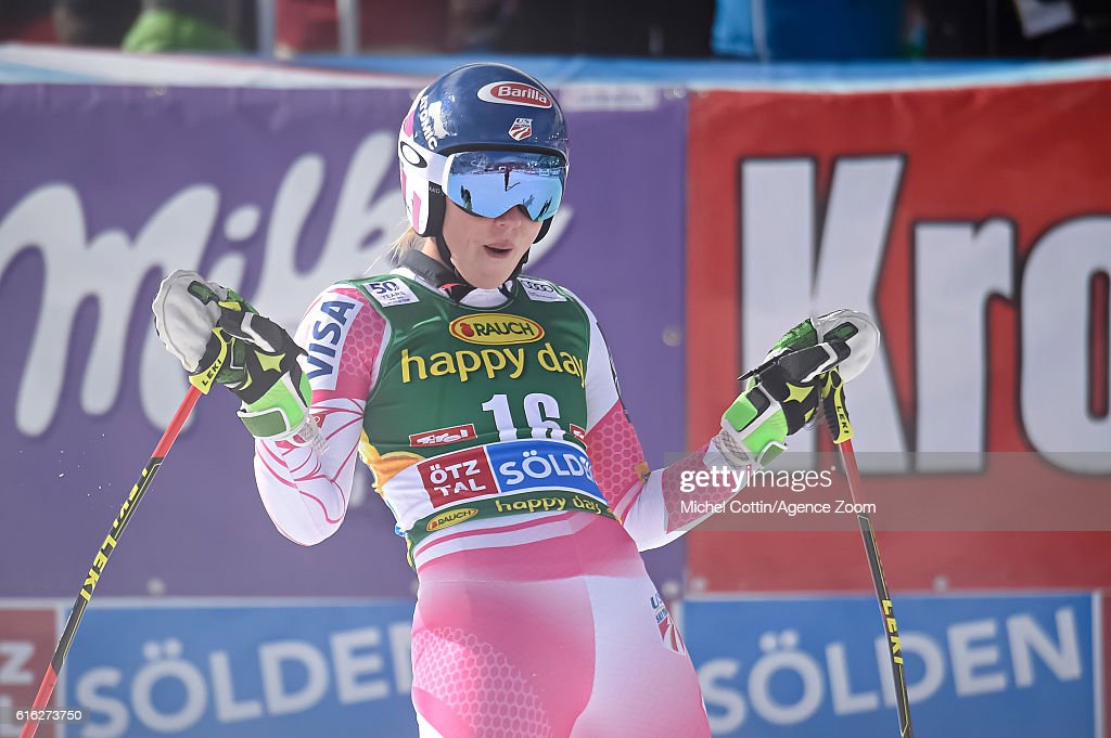 Mikaela Shiffrin of USA takes 2nd place during the Audi FIS Alpine Ski World Cup Women's Giant Slalom on October 22, 2016 in Soelden, Austria