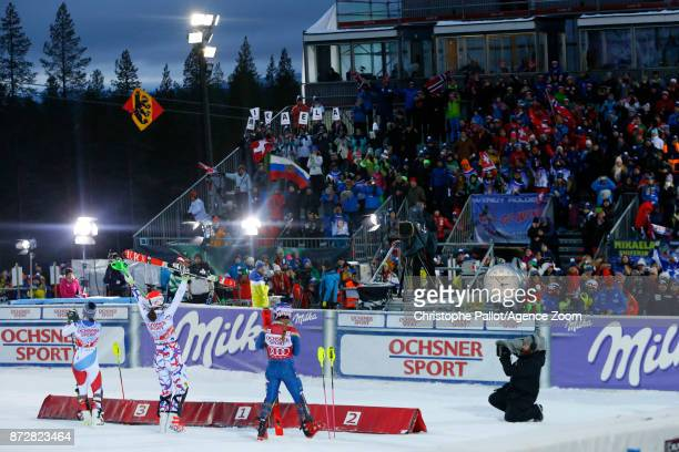 Mikaela Shiffrin of USA takes 2nd place Petra Vlhova of Slovakia takes 1st place Wendy Holdener of Switzerland takes 3rd place during the Audi FIS...