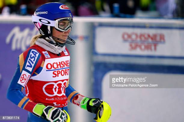 Mikaela Shiffrin of USA takes 3rd place during the Audi FIS Alpine Ski World Cup Women's Slalom on November 11 2017 in Levi Finland