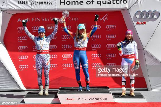 Mikaela Shiffrin of USA wins the globe in the overall standings Veronika Velez Zuzulova of Slovakia takes 2nd place in the overall standings Wendy...
