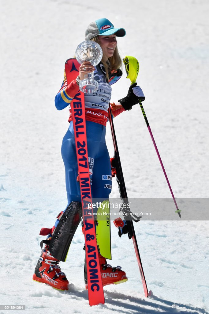 Mikaela Shiffrin of USA wins the globe in the overall standings during the Audi FIS Alpine Ski World Cup Finals Women's Slalom on March 18, 2017 in Aspen, Colorado