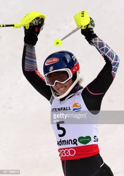 US Mikaela Shiffrin reacts after winning the women's slalom at the 2013 Ski World Championships in Schladming Austria on February 16 2013 AFP PHOTO /...