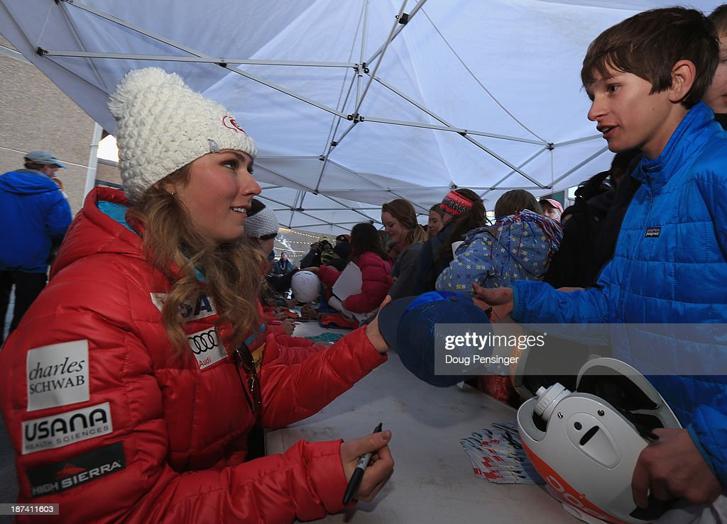 <a gi-track='captionPersonalityLinkClicked' href=/galleries/search?phrase=Mikaela+Shiffrin&family=editorial&specificpeople=7472698 ng-click='$event.stopPropagation()'>Mikaela Shiffrin</a> signs autographs for fans during the U.S. Alpine Ski Team Announcement and pep rally at Copper Mountain on November 8, 2013 in Copper Mountain, Colorado.