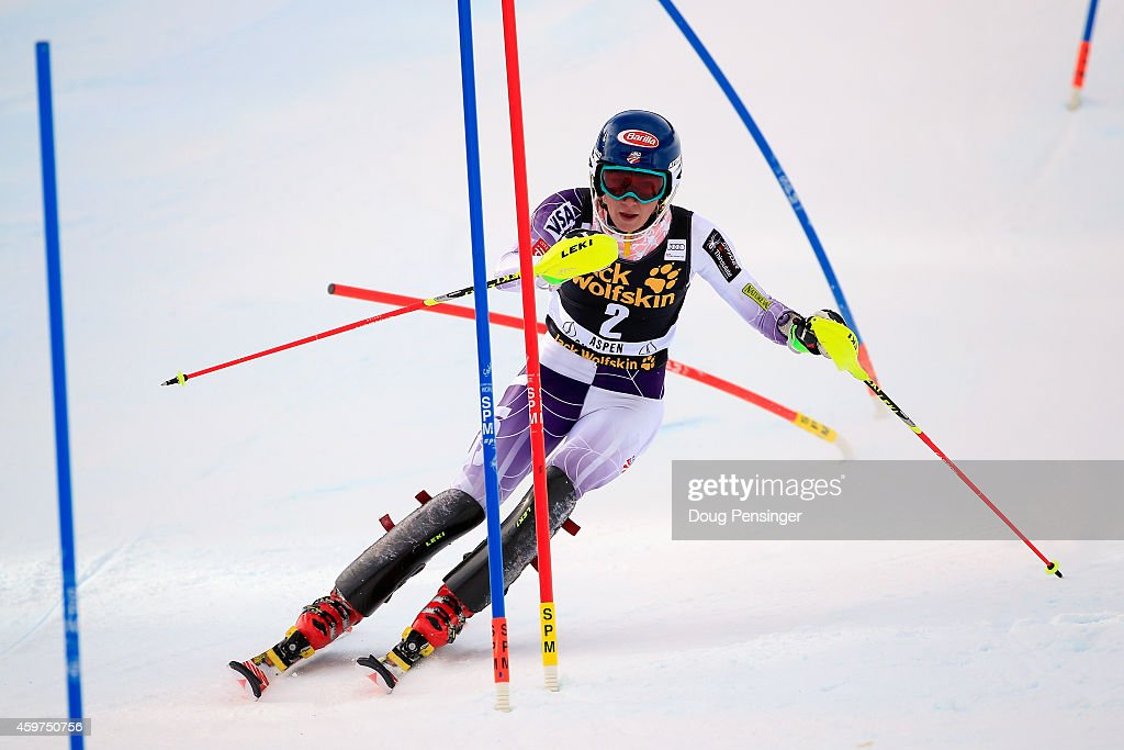<a gi-track='captionPersonalityLinkClicked' href=/galleries/search?phrase=Mikaela+Shiffrin&family=editorial&specificpeople=7472698 ng-click='$event.stopPropagation()'>Mikaela Shiffrin</a> skis to first place in the first run of the ladies slalom at the 2014 Audi FIS Ski World Cup at the Nature Valley Aspen Winternational at Aspen Mountain on November 30, 2014 in Aspen, Colorado.