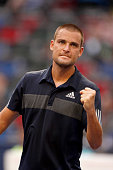 Mikail Youzhny of Russia reacts during his match against Feliciano Lopez of Spain during day 6 of the Shanghai Rolex Masters at Zi Zhong stadium on...