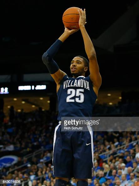 Mikal Bridges of the Villanova Wildcats attempts a shot against the Seton Hall Pirates during an NCAA college basketball game at Prudential Center on...