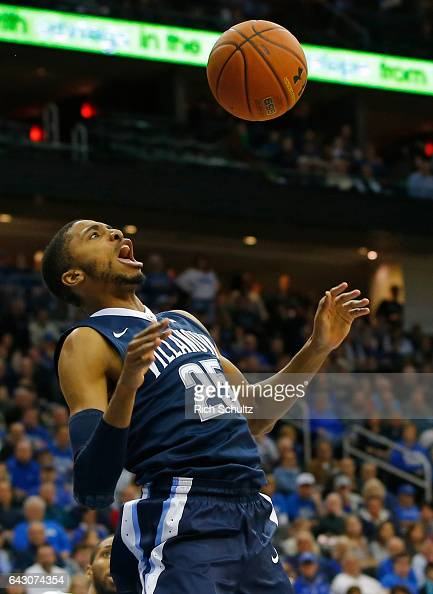 Mikal Bridges of the Villanova Wildcats reacts after a dunk against the Seton Hall Pirates during the second half of an NCAA college basketball game...