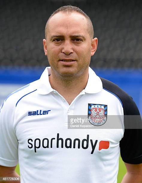 Mikayil Kabaca poses during the team presentation of FSV Frankfurt on July 5 2014 in Frankfurt am Main Germany