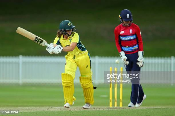 Mikayla Hinkley of the Governor General's XI is bowled by Nat Sciver of England during the T20 match between the GovernorGeneral's XI and England at...