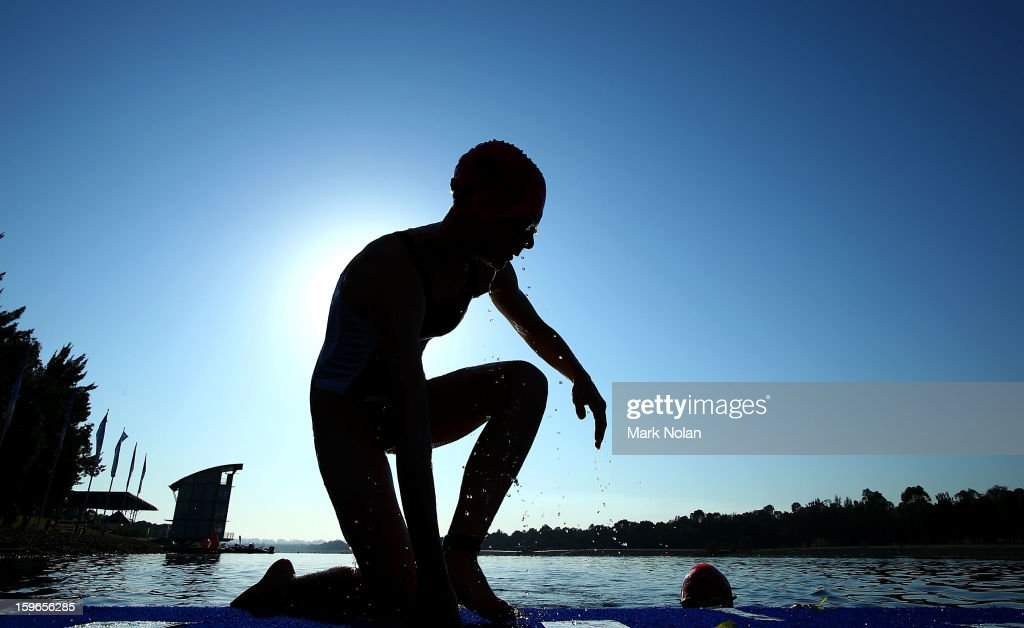Mikayla Nielsen of New Zealnad warms up before the start of the swim leg in the Womens Triathlon during day three of the 2013 Australian Youth Olympic Festival at the Sydney International Regatta Centre on January 18, 2013 in Sydney, Australia.