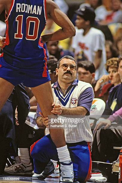 Mike Abdenour of the Detroit Pistons works with Dennis Rodman circa 1991 at Madison Square Garden in New York NOTE TO USER User expressly...
