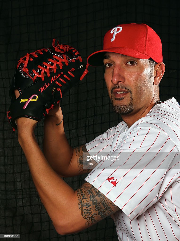 Mike Adams #37 of the Philadelphia Phillies poses for a portrait on February 18, 2013 at Bright House Field in Clearwater, Florida.