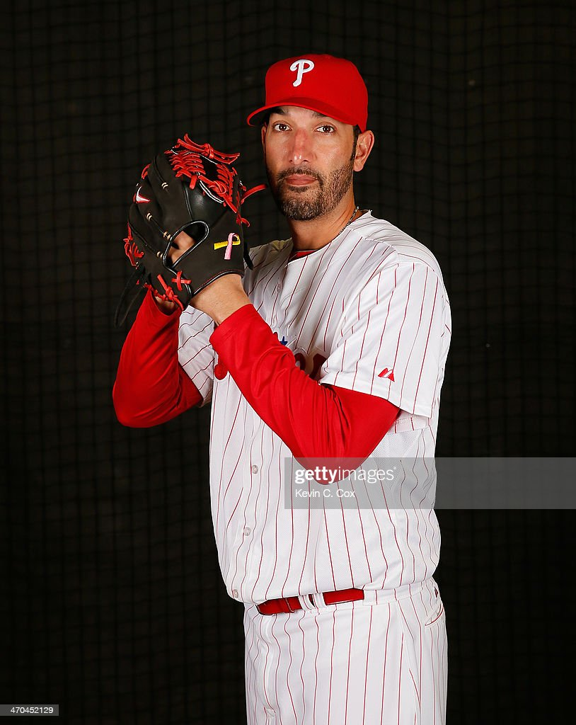Mike Adams #37 of the Philadelphia Phillies poses for a portrait on February 19, 2014 at Bright House Field in Clearwater, Florida.