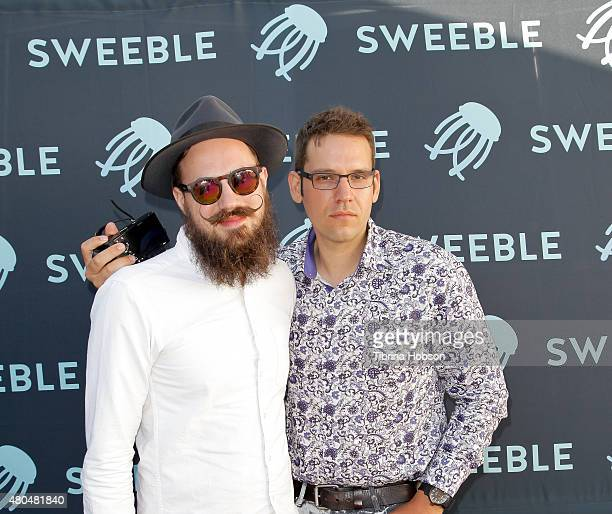 Mike Allen and Jamieson Hill attend the Sweeble and Arsenic Magazine party on July 11 2015 in Studio City California
