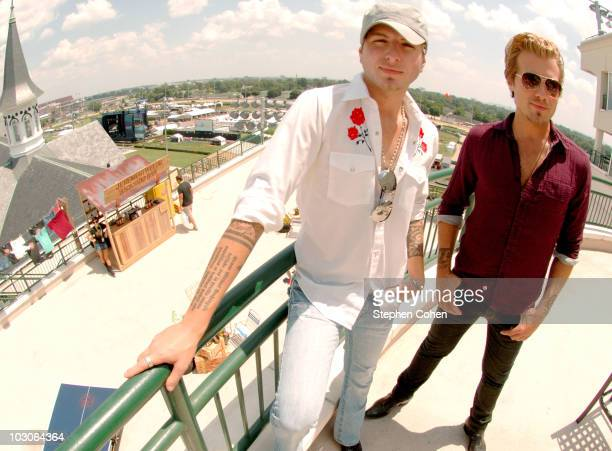 Mike and Tom Gossin of Gloriana visit Jeremiah Weed's Backyard during HullabaLOU Music Festival at Churchill Downs on July 23 2010 in Louisville...