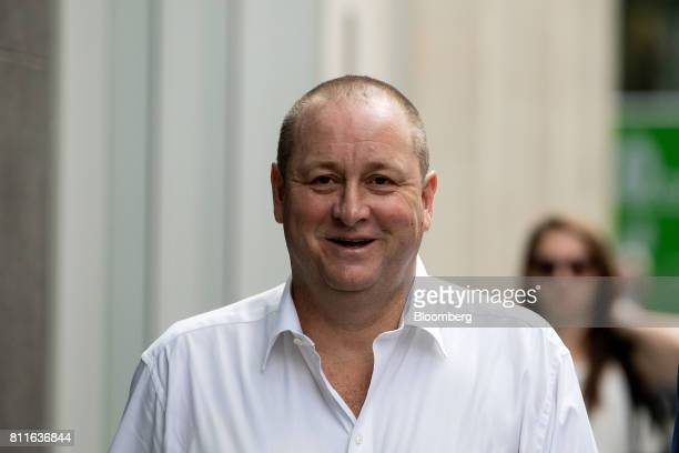 Mike Ashley billionaire and founder of Sports Direct International Plc arrives at court for a lawsuit hearing in London UK on Monday July 10 2017...