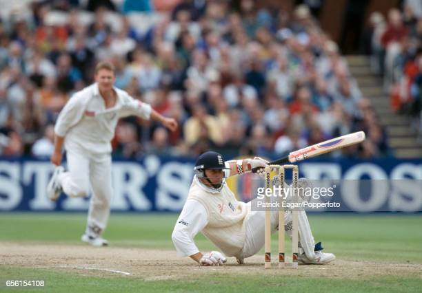 Mike Atherton of England is floored by a delivery from South Africa bowler Lance Klusener while batting in the 3rd Test match between England and...
