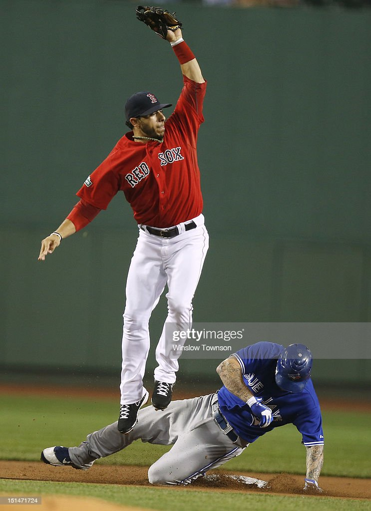 <a gi-track='captionPersonalityLinkClicked' href=/galleries/search?phrase=Mike+Aviles&family=editorial&specificpeople=4944765 ng-click='$event.stopPropagation()'>Mike Aviles</a> #3 of the Boston Red Sox goes high to get a throw as <a gi-track='captionPersonalityLinkClicked' href=/galleries/search?phrase=Brett+Lawrie&family=editorial&specificpeople=5496694 ng-click='$event.stopPropagation()'>Brett Lawrie</a> #13 of the Toronto Blue Jays slides in safely with a double during the first inning of the game at Fenway Park on September 7, 2012 in Boston, Massachusetts.
