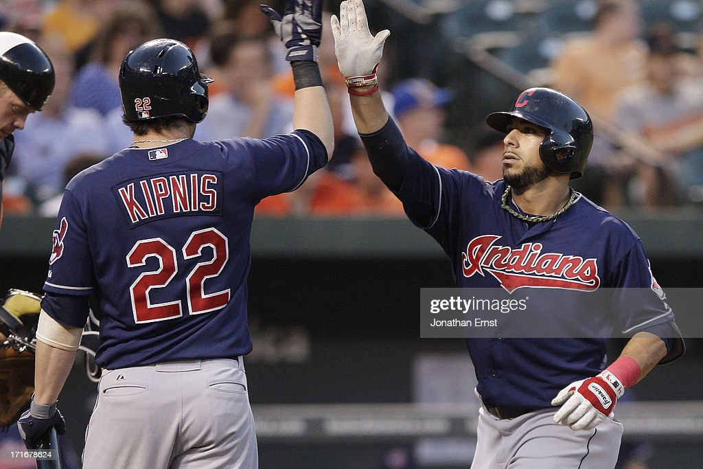 <a gi-track='captionPersonalityLinkClicked' href=/galleries/search?phrase=Mike+Aviles&family=editorial&specificpeople=4944765 ng-click='$event.stopPropagation()'>Mike Aviles</a> #4 (R) of the Cleveland Indians celebrates with teammate Jason Kipnis #22 after Aviles's solo home run during the fifth inning against the Baltimore Orioles at Oriole Park at Camden Yards on June 27, 2013 in Baltimore, Maryland.