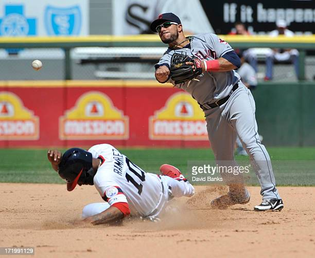Mike Aviles of the Cleveland Indians forces out Alexei Ramirez of the Chicago White Sox during the seventh inning on June 30 2013 at US Cellular...