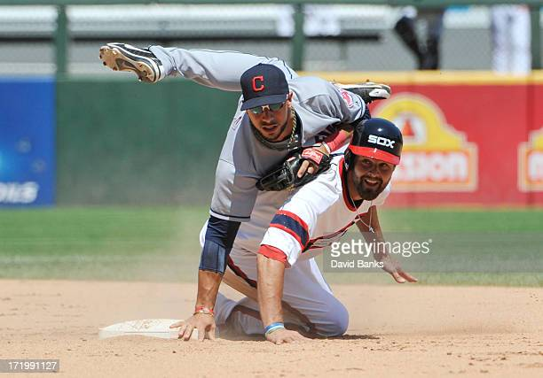 Mike Aviles of the Cleveland Indians forces out Jordan Danks of the Chicago White Sox during the sixth inning on June 30 2013 at US Cellular Field in...
