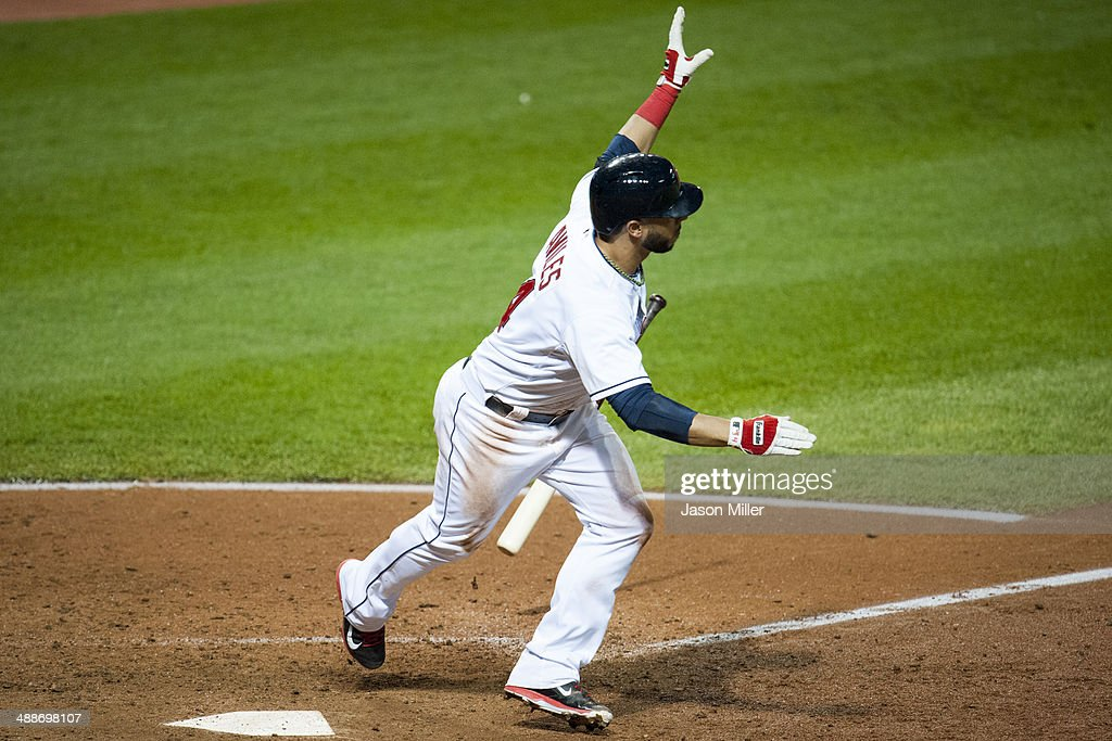 <a gi-track='captionPersonalityLinkClicked' href=/galleries/search?phrase=Mike+Aviles&family=editorial&specificpeople=4944765 ng-click='$event.stopPropagation()'>Mike Aviles</a> #4 of the Cleveland Indians hits a walk off single to center during the ninth inning against the Minnesota Twins at Progressive Field on May 7, 2014 in Cleveland, Ohio. The Indians defeated the Twins 4-3.