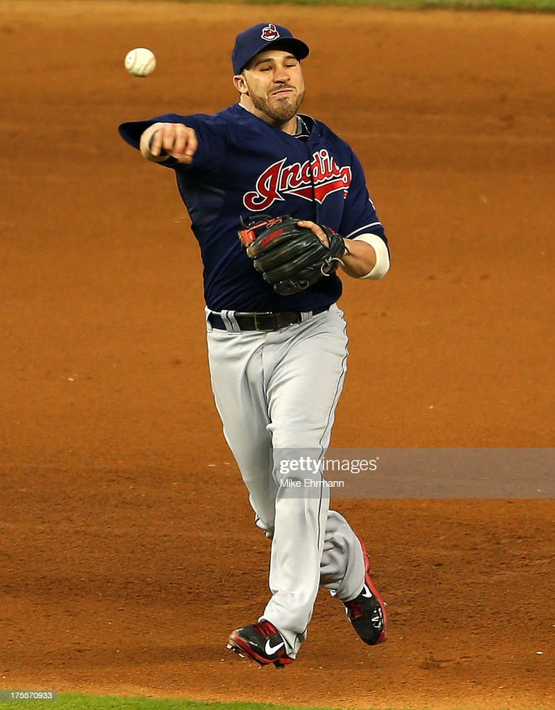 <a gi-track='captionPersonalityLinkClicked' href=/galleries/search?phrase=Mike+Aviles&family=editorial&specificpeople=4944765 ng-click='$event.stopPropagation()'>Mike Aviles</a> #4 of the Cleveland Indians makes a throw to first during a game against the Miami Marlins at Marlins Park on August 4, 2013 in Miami, Florida.