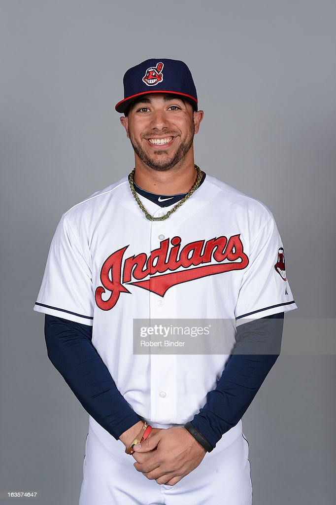 <a gi-track='captionPersonalityLinkClicked' href=/galleries/search?phrase=Mike+Aviles&family=editorial&specificpeople=4944765 ng-click='$event.stopPropagation()'>Mike Aviles</a> #4 of the Cleveland Indians poses during Photo Day on February 19, 2013 at Goodyear Ballpark in Goodyear, Arizona.