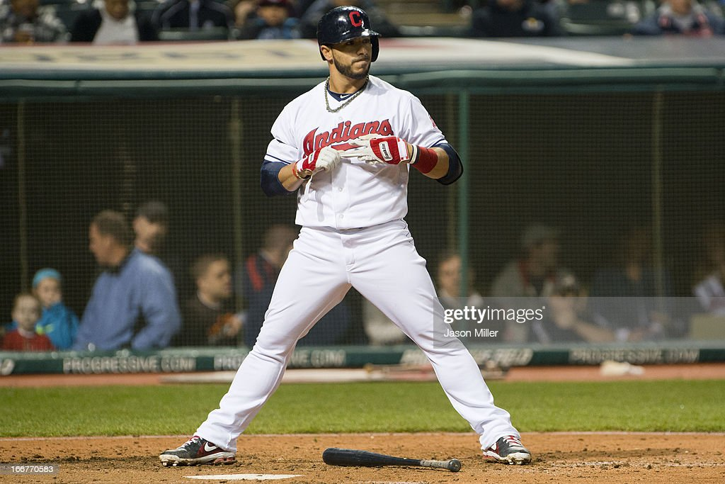 <a gi-track='captionPersonalityLinkClicked' href=/galleries/search?phrase=Mike+Aviles&family=editorial&specificpeople=4944765 ng-click='$event.stopPropagation()'>Mike Aviles</a> of the Cleveland Indians reacts to striking out to end the fourth inning against the Boston Red Sox at Progressive Field on April 16, 2013 in Cleveland, Ohio. All uniformed team members are wearing jersey number 42 in honor of Jackie Robinson Day.