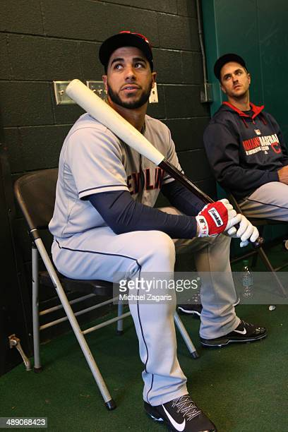 Mike Aviles of the Cleveland Indians sits in the indoor batting cages during the game against the San Francisco Giants at ATT Park on April 26 2014...