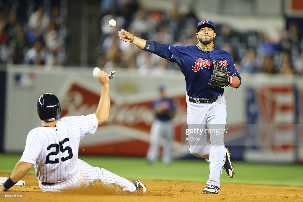 <a gi-track='captionPersonalityLinkClicked' href=/galleries/search?phrase=Mike+Aviles&family=editorial&specificpeople=4944765 ng-click='$event.stopPropagation()'>Mike Aviles</a> #4 of the Cleveland Indians turns a double play to end the seventh inning as <a gi-track='captionPersonalityLinkClicked' href=/galleries/search?phrase=Mark+Teixeira&family=editorial&specificpeople=209239 ng-click='$event.stopPropagation()'>Mark Teixeira</a> #25 of the New York Yankees slides during their game on June 4, 2013 at Yankee Stadium in the Bronx borough of New York City