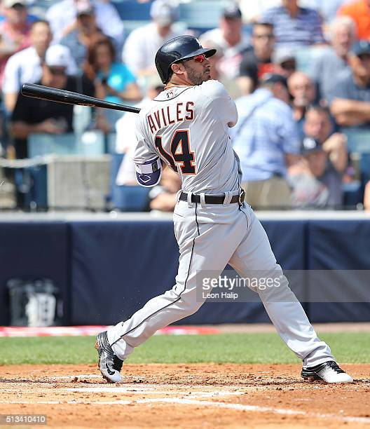 Mike Aviles of the Detroit Tigers bates during the Spring Training Game against the New York Yankees on March 2 2016 at George Steinbrenner Field in...