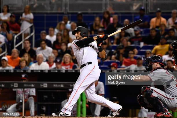 Mike Aviles of the Miami Marlins in action during the game between the Miami Marlins and the Washington Nationals at Marlins Park on July 31 2017 in...