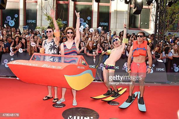 Mike Ayley Ian Casselman Josh Ramsay and Matt Webb of Marianas Trench arrive at the 2015 MuchMusic Video Awards at MuchMusic HQ on June 21 2015 in...