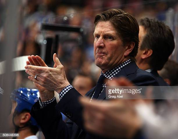 Mike Babcock of the Toronto Maple Leafs during action against the New Jersey Devils during game action on February 4 2016 at Air Canada Centre in...