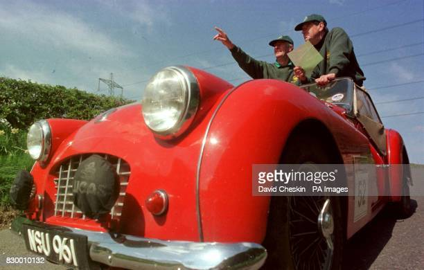 Mike Barker and John Francis drive their 1957 Triumph TR3 into the Glenkinchie Distillery in East Lothian today as classic cars join the Classic...